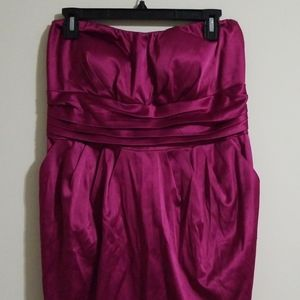 Snap strapless satin dress with pockets 16